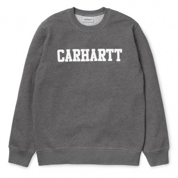 Carhartt College Sweatshirt Dark Grey Heather White