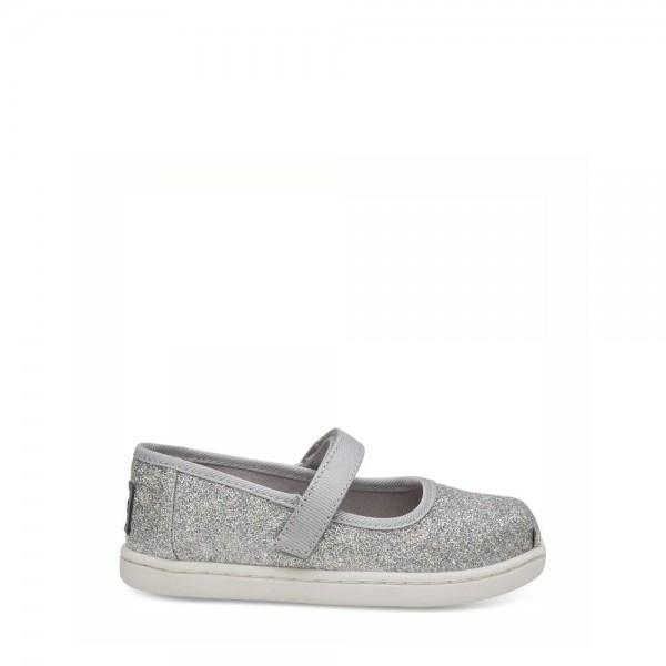 TOMS Baby Mary Jane Silver Iridescent