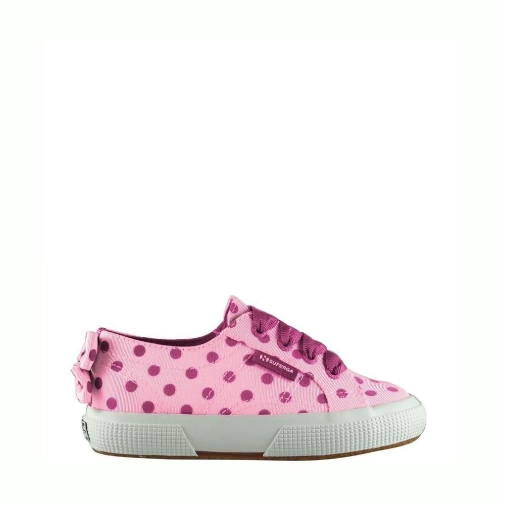 Superga Kids 2750 Grossgrainflocked Cream Green Dots