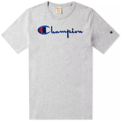 Champion Reverse Weave T-Shirt Script Logo Oxford Grey