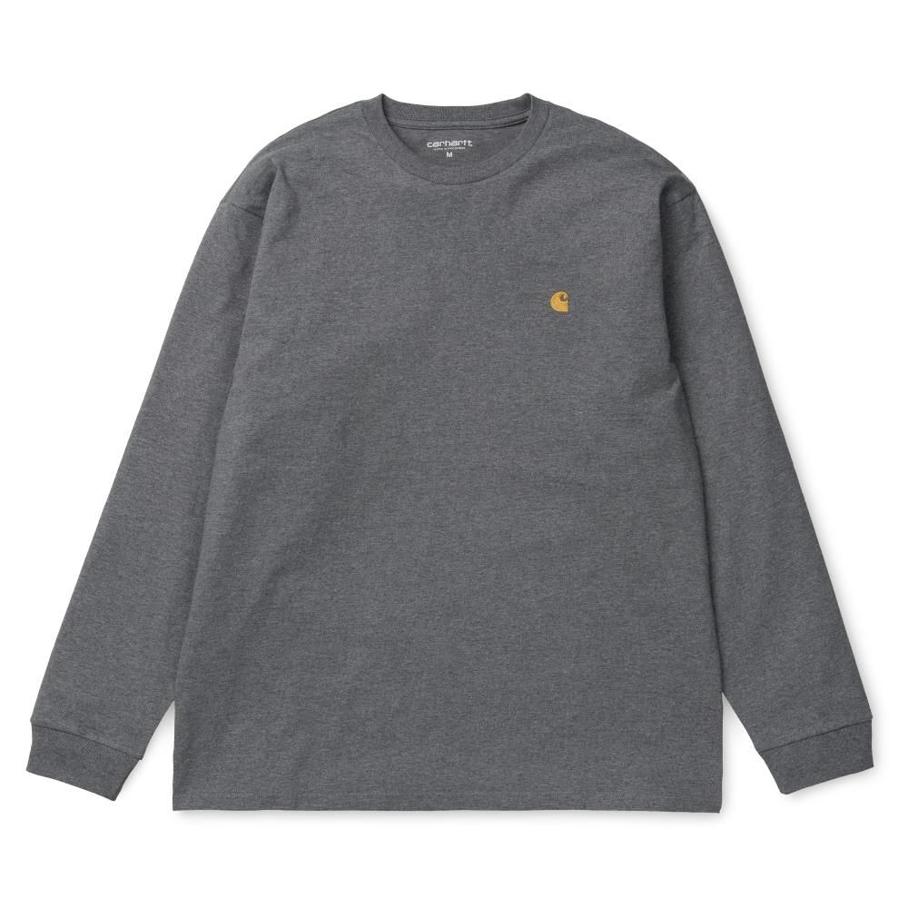 Carhartt LS Chase T-Shirt Dark Grey Heather Gold