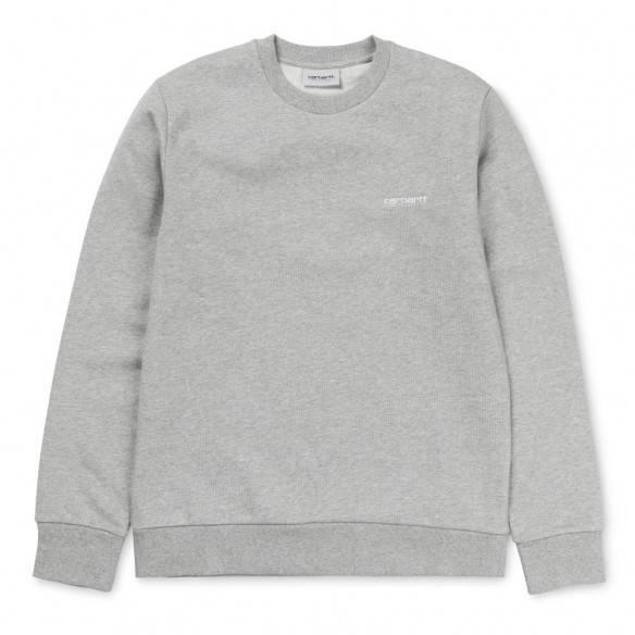 Carhartt Script Embroidery Sweatshirt Grey Heather White