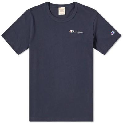 Champion Reverse Weave Small Script Logo T-Shirt Navy