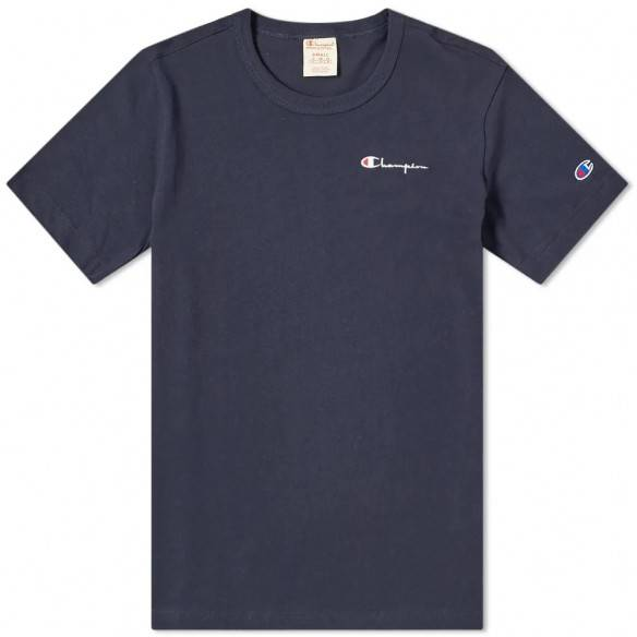Champion Reverse Weave T-Shirt Small Script Logo Navy