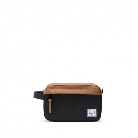 Herschel Chapter Travel Kit Black Saddle Brown