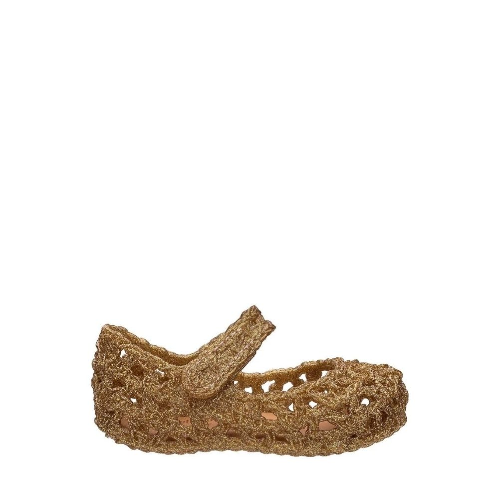 Mini Melissa Sapatos Campana Crochet Glitter Clear Gold