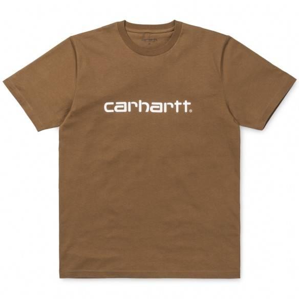 Carhartt T-Shirt Script Hamilton Brown White