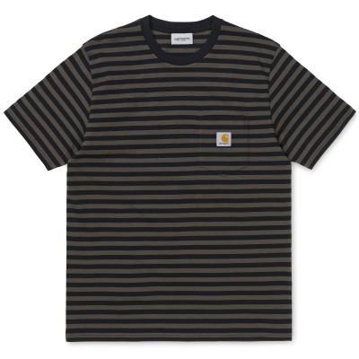 Carhartt T-Shirt Haldon Pocket Stripe Black Cypress