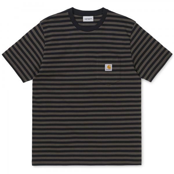 Carhartt Haldon Pocket Stripe T-Shirt Black Cypress