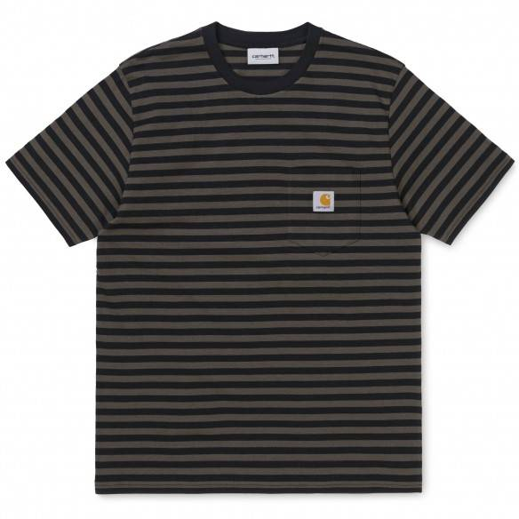 Carhartt Haldon Pocket Stripe T-Shirt Black Cypress