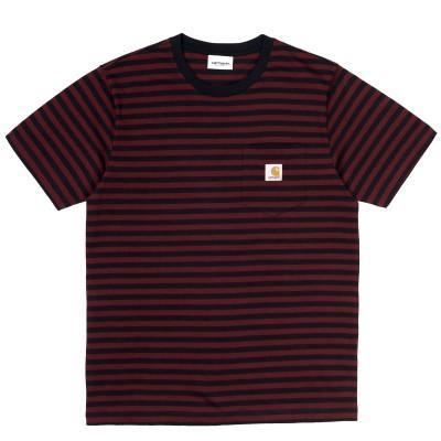 Carhartt T-Shirt Haldon Pocket Stripe Dark Navy Merlot