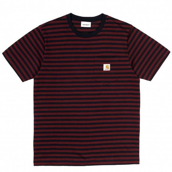 Carhartt Haldon Pocket Stripe T-Shirt Dark Navy Merlot