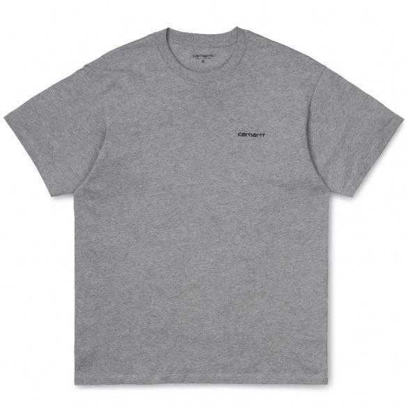 Carhartt T-Shirt Script Embroidery Grey Heather Black