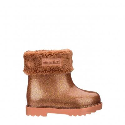 Mini Melissa Rain Boot II Brown Brow Glitter