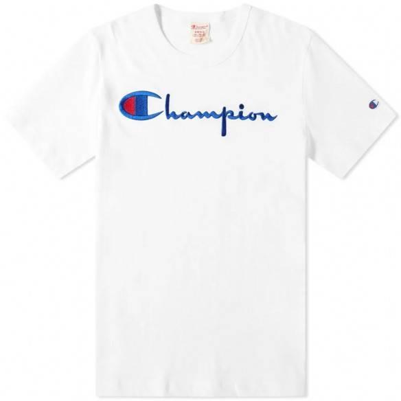 Champion Reverse Weave T-Shirt Script Logo White
