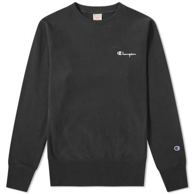 Champion Reverse Weave Sweatshirt Small Script Crew Black