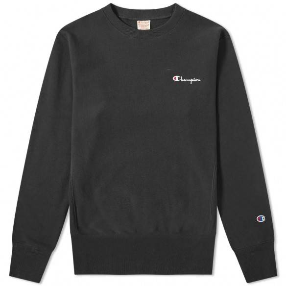 Champion Reverse Weave Small Script Crew Sweatshirt Black