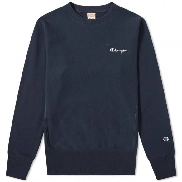 Champion Reverse Weave Sweatshirt Small Script Crew Dark Navy