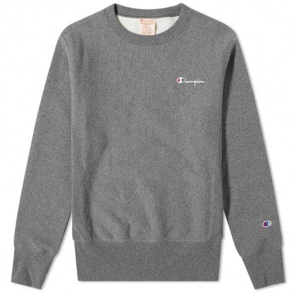 Champion Reverse Weave Small Script Crew Sweatshirt Grey