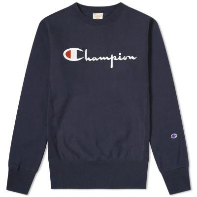 Champion Reverse Weave Sweatshirt Big Script Crew Dark Navy