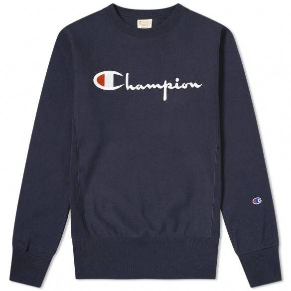 Champion Reverse Weave Big Script Crew Sweatshirt Dark Navy