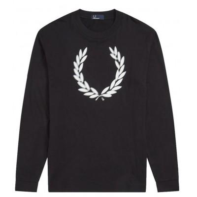 Fred Perry T-shirt Blurred Laurel Wreath Black M6511 102
