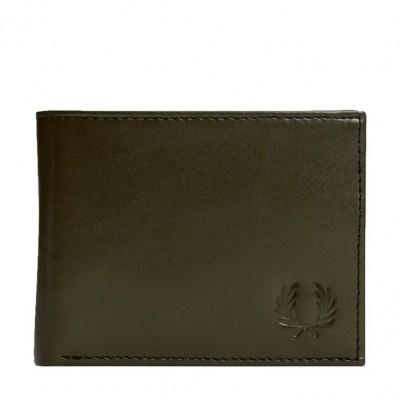 Fred Perry Contrast Leather Billfold Wallet Olive L7218-225