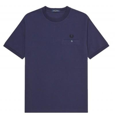Fred Perry T-shirt Pocket Detail Pique Carbon Blue M8531-266
