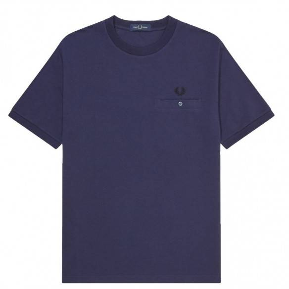 Fred Perry Pocket Detail Pique T-shirt Carbon Blue M8531-266
