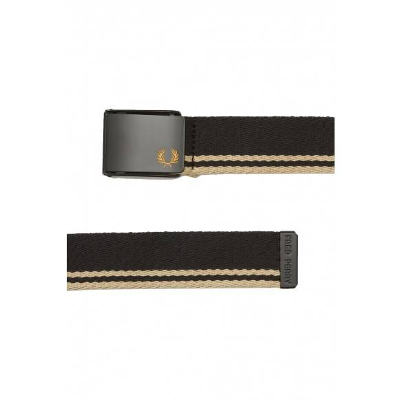 Fred Perry Tipped Webbing Belt Black Champagne BT8431-157