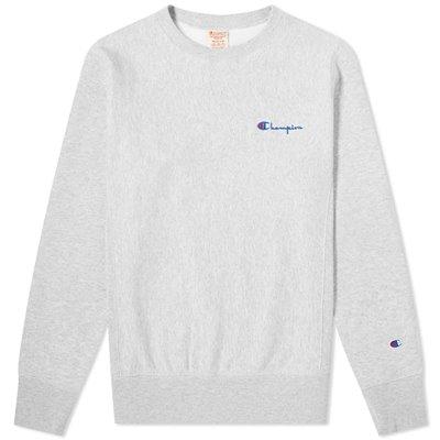 Champion Reverse Weave Small Script Crew Sweatshirt Light Grey